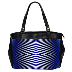 Blue Lines Iterative Art Wave Chevron Office Handbags (2 Sides)  by Mariart