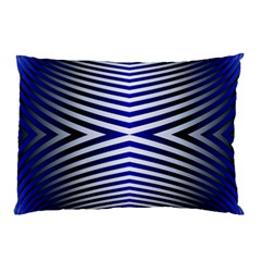 Blue Lines Iterative Art Wave Chevron Pillow Case (two Sides) by Mariart
