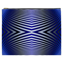 Blue Lines Iterative Art Wave Chevron Cosmetic Bag (xxxl)  by Mariart