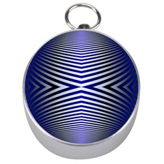 Blue Lines Iterative Art Wave Chevron Silver Compasses by Mariart