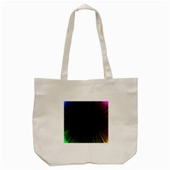 Colorful Light Ray Border Animation Loop Rainbow Motion Background Space Tote Bag (cream) by Mariart