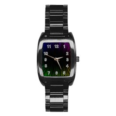 Colorful Light Ray Border Animation Loop Rainbow Motion Background Space Stainless Steel Barrel Watch by Mariart