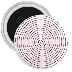 Double Line Spiral Spines Red Black Circle 3  Magnets by Mariart