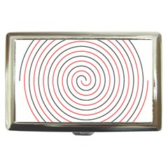 Double Line Spiral Spines Red Black Circle Cigarette Money Cases by Mariart