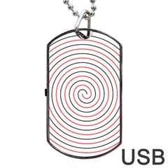 Double Line Spiral Spines Red Black Circle Dog Tag Usb Flash (two Sides) by Mariart