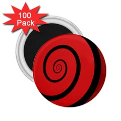 Double Spiral Thick Lines Black Red 2 25  Magnets (100 Pack)  by Mariart