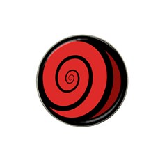 Double Spiral Thick Lines Black Red Hat Clip Ball Marker (4 Pack) by Mariart
