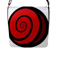 Double Spiral Thick Lines Black Red Flap Messenger Bag (l)  by Mariart