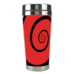 Double Spiral Thick Lines Black Red Stainless Steel Travel Tumblers by Mariart