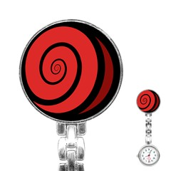 Double Spiral Thick Lines Black Red Stainless Steel Nurses Watch by Mariart