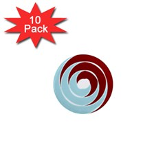 Double Spiral Thick Lines Blue Red 1  Mini Magnet (10 Pack)  by Mariart