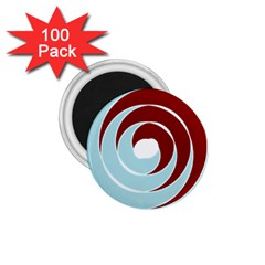 Double Spiral Thick Lines Blue Red 1 75  Magnets (100 Pack)  by Mariart