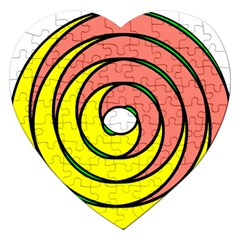 Double Spiral Thick Lines Circle Jigsaw Puzzle (heart) by Mariart