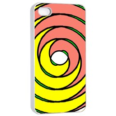 Double Spiral Thick Lines Circle Apple Iphone 4/4s Seamless Case (white) by Mariart
