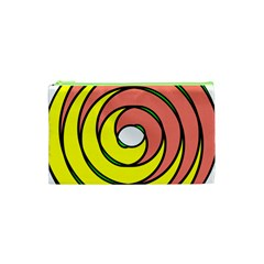 Double Spiral Thick Lines Circle Cosmetic Bag (xs) by Mariart