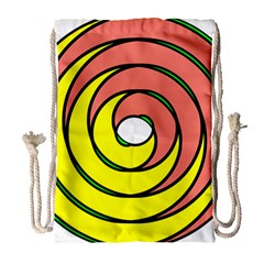 Double Spiral Thick Lines Circle Drawstring Bag (large) by Mariart