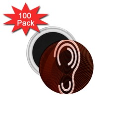 Fan Line Chevron Wave Brown 1 75  Magnets (100 Pack)  by Mariart