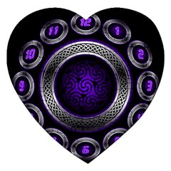 Digital Celtic Clock Template Time Number Purple Jigsaw Puzzle (heart) by Mariart