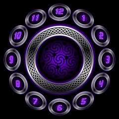Digital Celtic Clock Template Time Number Purple Magic Photo Cubes by Mariart