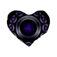 Digital Celtic Clock Template Time Number Purple Standard 16  Premium Flano Heart Shape Cushions by Mariart