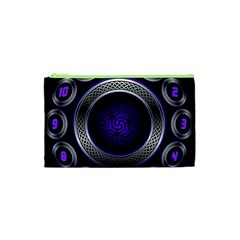 Digital Celtic Clock Template Time Number Purple Cosmetic Bag (xs) by Mariart