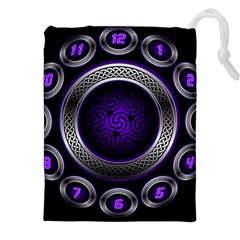 Digital Celtic Clock Template Time Number Purple Drawstring Pouches (xxl) by Mariart