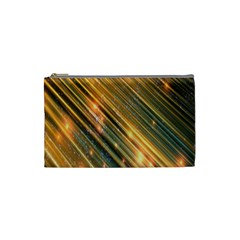 Golden Blue Lines Sparkling Wild Animation Background Space Cosmetic Bag (small)  by Mariart