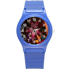 Hanging Paper Star Lights Round Plastic Sport Watch (s) by Mariart