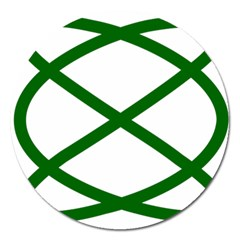 Lissajous Small Green Line Magnet 5  (round) by Mariart