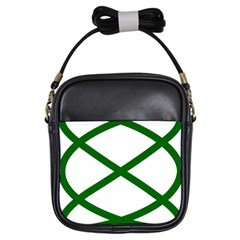 Lissajous Small Green Line Girls Sling Bags by Mariart