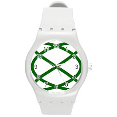 Lissajous Small Green Line Round Plastic Sport Watch (m) by Mariart