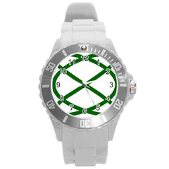 Lissajous Small Green Line Round Plastic Sport Watch (l) by Mariart