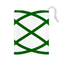 Lissajous Small Green Line Drawstring Pouches (large)  by Mariart