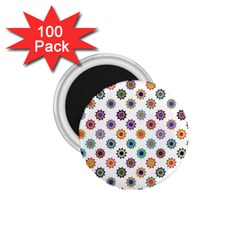 Flowers Pattern Recolor Artwork Sunflower Rainbow Beauty 1 75  Magnets (100 Pack)  by Mariart