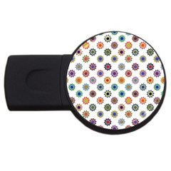 Flowers Pattern Recolor Artwork Sunflower Rainbow Beauty Usb Flash Drive Round (4 Gb) by Mariart