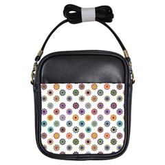 Flowers Pattern Recolor Artwork Sunflower Rainbow Beauty Girls Sling Bags by Mariart