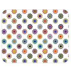 Flowers Pattern Recolor Artwork Sunflower Rainbow Beauty Double Sided Flano Blanket (medium)  by Mariart