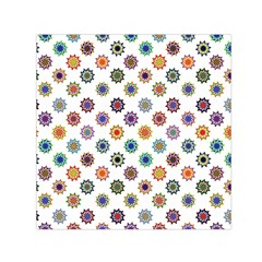 Flowers Pattern Recolor Artwork Sunflower Rainbow Beauty Small Satin Scarf (square) by Mariart