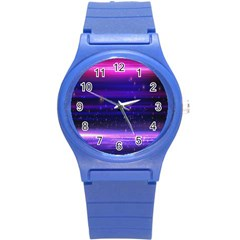 Massive Flare Lines Horizon Glow Particles Animation Background Space Round Plastic Sport Watch (s) by Mariart