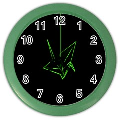 Origami Light Bird Neon Green Black Color Wall Clocks by Mariart