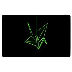 Origami Light Bird Neon Green Black Apple Ipad 2 Flip Case by Mariart
