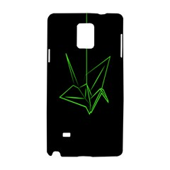 Origami Light Bird Neon Green Black Samsung Galaxy Note 4 Hardshell Case by Mariart