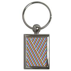 Lines Chevron Yellow Pink Blue Black White Cute Key Chains (rectangle)  by Mariart