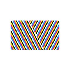 Lines Chevron Yellow Pink Blue Black White Cute Magnet (name Card) by Mariart