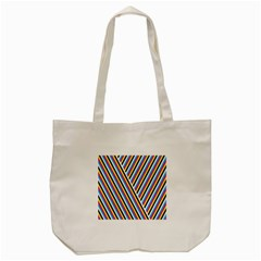 Lines Chevron Yellow Pink Blue Black White Cute Tote Bag (cream) by Mariart