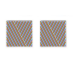 Lines Chevron Yellow Pink Blue Black White Cute Cufflinks (square) by Mariart