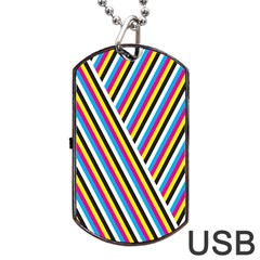 Lines Chevron Yellow Pink Blue Black White Cute Dog Tag Usb Flash (one Side) by Mariart