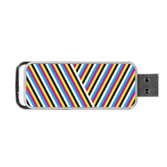Lines Chevron Yellow Pink Blue Black White Cute Portable Usb Flash (two Sides) by Mariart