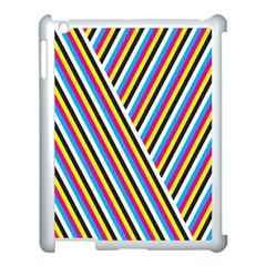 Lines Chevron Yellow Pink Blue Black White Cute Apple Ipad 3/4 Case (white) by Mariart
