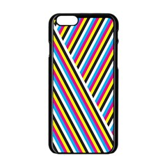 Lines Chevron Yellow Pink Blue Black White Cute Apple Iphone 6/6s Black Enamel Case by Mariart